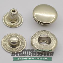 Кнопка металлическая гладкая АЛЬФА Ø 15мм цв. ХРОМ