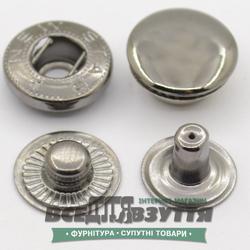 Кнопка металлическая гладкая АЛЬФА Ø 15мм цв. Темный никель