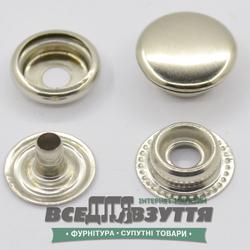 Кнопка металлическая гладкая КАППА Ø 15мм цв. ХРОМ
