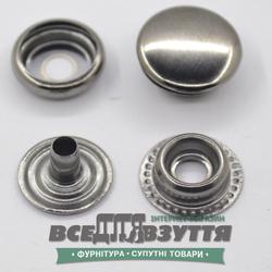 Кнопка металлическая гладкая КАППА Ø 15мм цв. Темный никель