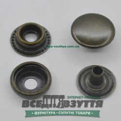 Кнопка металлическая гладкая КАППА Ø 15мм цв. Антик