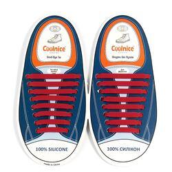 Силиконовые шнурки Coolnice 8+8 цв. Бордовый