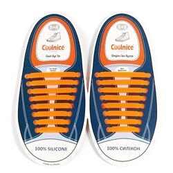 Силиконовые шнурки Coolnice 8+8 цв. Оранжевый